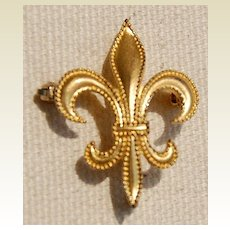 Vintage Gold Filled Beaded Fleur D Lis Watch Pin Brooch