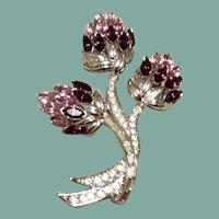 Nolan Miller Rhinestone Floral Spray Brooch