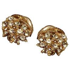 Star Gold Tone Metal Rhinestone Clip Earrings