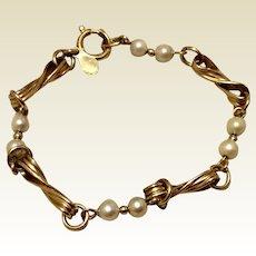 Vintage Gold Filled Cultured Pearl Bracelet