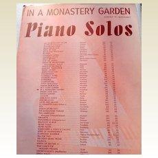 "1915 Vintage Sheet Music ""In A Monastery Garden"" By Albert W. Ketelbey"