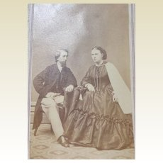 Antique Victorian Cabinet Card Photo Of Couple