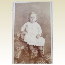 Antique Victorian Cabinet Card  Full Figure Photo Young Boy
