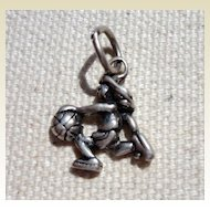 Vintage Sterling Silver Girl Basketball Player Charm