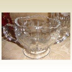 Vintage Etched Glass Sugar Bowl