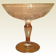 Vintage Etched Glass Footed Compote