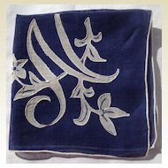 Vintage Navy Blue Ladies Hankerchief