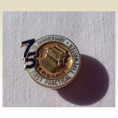 Vintage 75th Anniversary Remington Typewriter 10K Gold Filled Lapel Pin