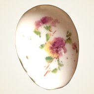 Victorian Large Hand Blown Egg With Hand Painted Pansy