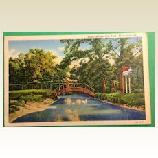 Vintage 1942 Rustic Bridge City Park Alexandria Louisiana Postcard