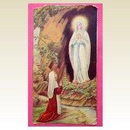 Vintage Our Lady Of Lourdes & St. Bernadette Prayer Card