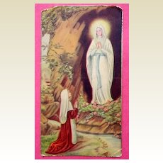 Vintage Our Lady Of Lourdes & St. Bernadette Prayer Card