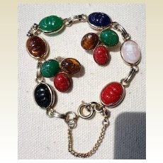 Vintage Gold Tone Metal & Faux Scarab Bracelet & Earrings