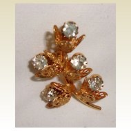 Lovely Vintage Gold Filled Rhinestone Floral Brooch