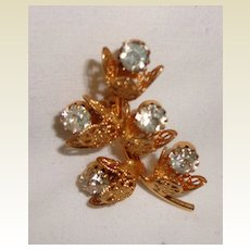 Lovely Vintage Gold Filled Rhinestone Floral Brooch