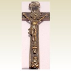 Early 1900'S Vintage Metal & Ebony Crucifix