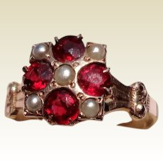 Victorian 10K Gold Garnet & Seed Pearl Ring