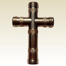 Unusual Victorian Gold Filled Cross Brooch