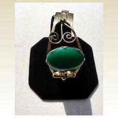 Vintage Gold Filled Emerald Green Cabochon Hinged Bangle Bracelet