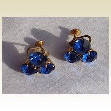 Vintage Screw Back Sapphire Blue Rhinestone Earrings
