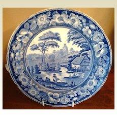 Antique Blue & White Wild Rose Warming Dish