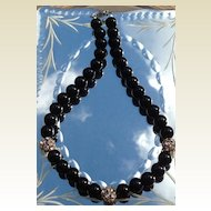 Vintage Estate 12 MM Black Glass Rhinestone Necklace