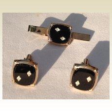 Vintage Silver Tone Black Lucite Diamond Rhinestone Cuff  Links & Tie Bar Set