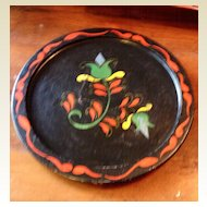Vintage Round Wooden Tole  Painted Tray