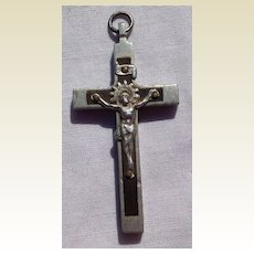 Old Aluminum & Ebony Crucifix