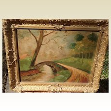 1918 Vintage Framed Oil Painting Signed George Clone