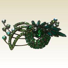 Fabulous Green Rhinestone Brooch
