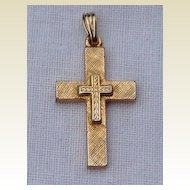 Vintage Gold Tone Metal Cross Pendant