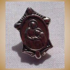 Vintage Silver Tone Metal Catholic Religious Pin Brooch