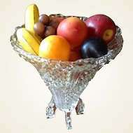 Vintage English 2 Piece Diamond Pattern Glass Footed Bowl/Vase
