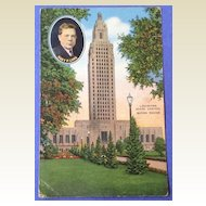 Vintage 1940  Louisiana State Capital Huey P. Long Post Card