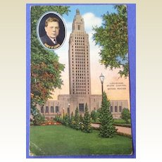 Vintage 1940  Louisiana State Capital Huey P. Long Post Card