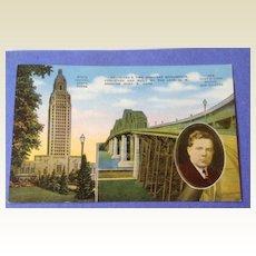Vintage 1940's Louisiana State Capital Huey P Long Bridge Post Card