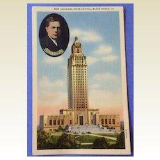 Vintage 1940's New Louisiana State Capitol Huey P. Long Post Card