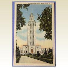 Vintage Louisiana State Capital Post Card