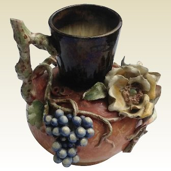 Rare Barbotine Floral Fruit Faience Manufacturing Co. Pitcher