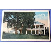 Vintage  Three Oakes Plantation New Orleans Louisiana Post Card
