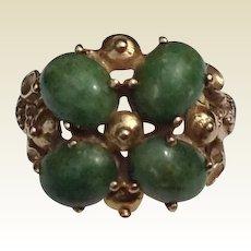 Vintage 14K Gold Cabochon Jade Ring