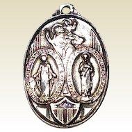 Vintage Sterling Silver Enamel U S Military Scapular Medal