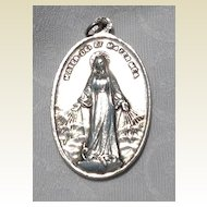 Vintage Large Sterling Silver Catholic Medal