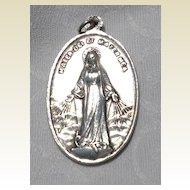 Vintage Large Sterling Silver Catholic Medal
