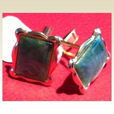 Vintage Gold Tone Metal Green Marbleized Cuff Links