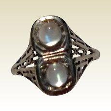 Vintage Art Deco 14K White Gold Filigree Double Moonstone Ring