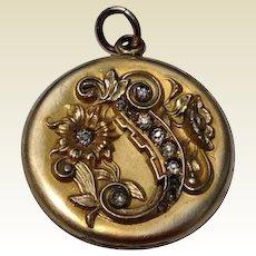Art Nouveau Gold Filled Clear Paste Floral Motif Double Photo Locket
