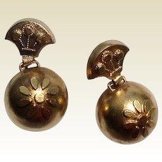 Victorian Etruscan Revival Vermeil Dangle Orb Earrings