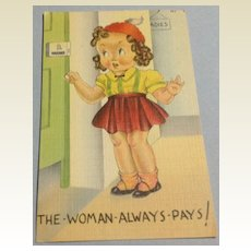 Vintage Comic The Woman Always Pays Post Card